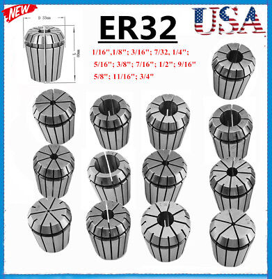 Er32 Spring Chuck Collet 13pc Set 116-34 Inch By 16th Precision New Bp