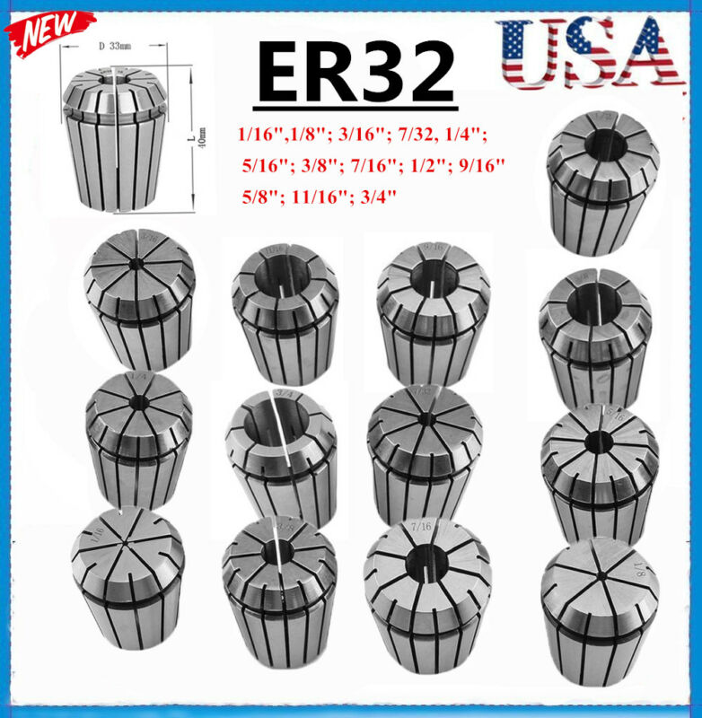 "ER32 Spring Chuck COLLET 13PC SET 1/16""-3/4"" Inch by 16th PRECISION NEW BP"