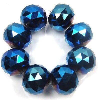 20mm Large Metallic Iris Blue Glass Quartz Faceted Round Ball Focal Beads
