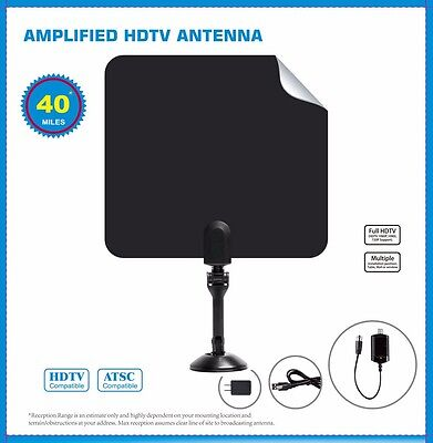 Indoor Uhf Hdtv - NEW AMPLIFIED INDOOR HDTV ANTENNA POWER HIGH GAIN 20dB UHF VHF FM DIGITAL TV