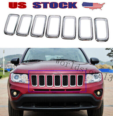 fits Jeep Compass 2011-2016 Chrome Front Grille Vent Hole Grill Frame Cover Trim Jeep Chrome Grill
