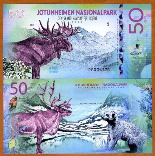 Norway, Jotunheimen National Park, 50 Kroner, Polymer, 2018 > Elk, Wolverine