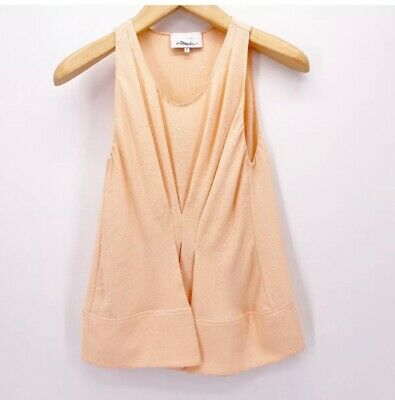 3.1 Phillip Lim Womens Blouse Peach Pink Crepe Sleeveless Gathered Pleat Front 2