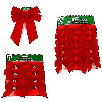 Christmas Tree Red Velvet Bows Small Large Size Sets Decorative Party Holiday