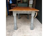 oak dining table, antique table, large dining table, vintage oak table, kitchen table, painted table