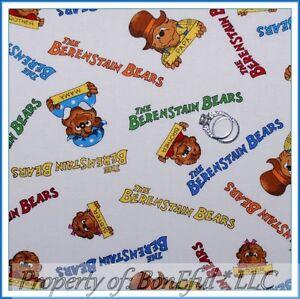 BonEful Fabric FQ Cotton Quilt VTG Berenstain Bears Story Book Baby Kid Boy Girl