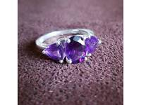 Amethyst Three Stone Sterling Silver Ring - Size O/7.5