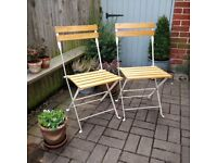 Pair of folding wooden chairs. Vintage Garden chairs. Vintage patio chairs. BBQ chairs. Extra chairs