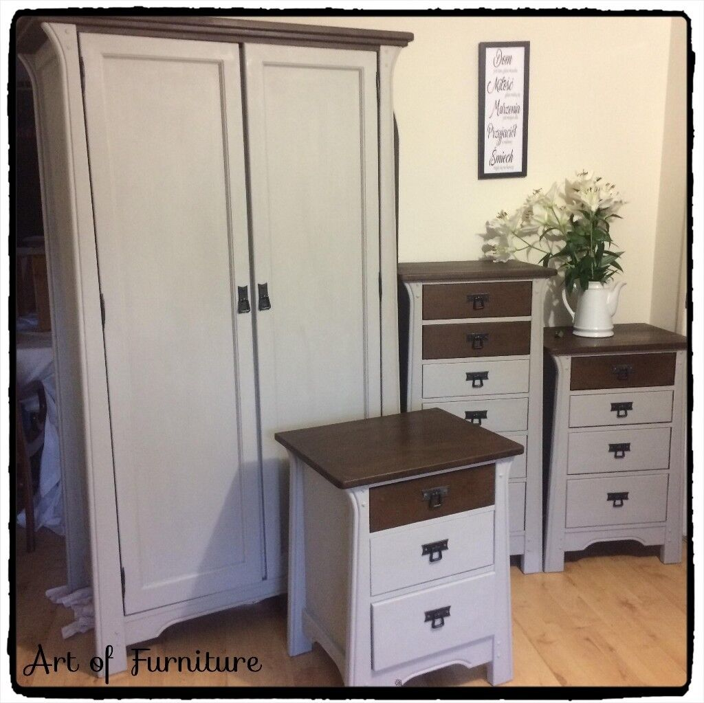 Oak Bedroom Furniture Set Wardrobe 3 Chests Of Drawers Hand Painted In  ANNIE SLOAN Grey Chalk