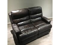 PAIR OF 2 SEATER LEATHER RECLINER SOFAS