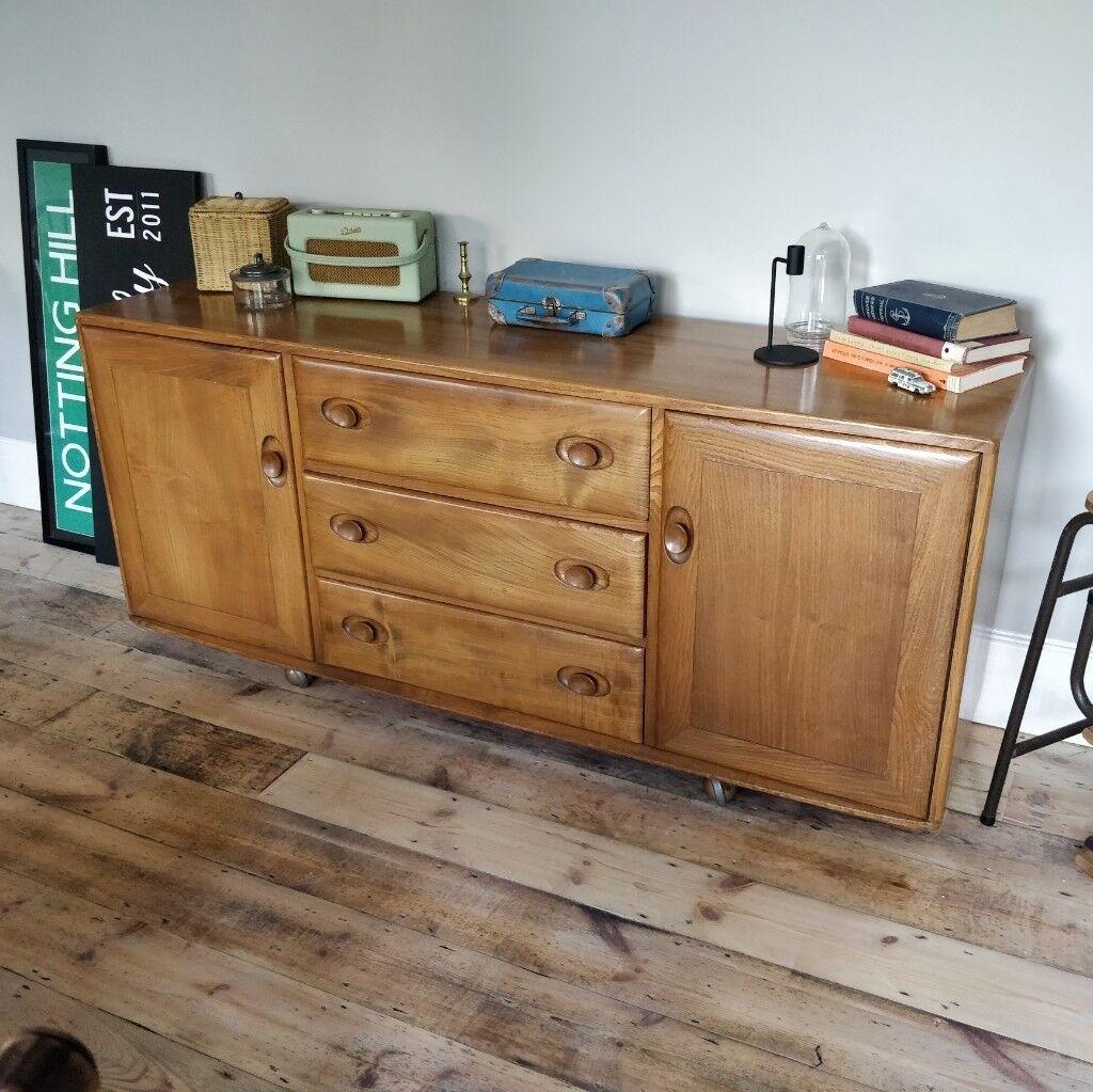 Vintage Blonde Ercol Sideboard Mid Century Dresser