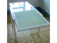 White and frosted glass extending table