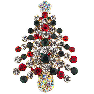 Lux Accessories Christmas Xmas Ugly Sweater Party Faux Gemstone Tree Brooch - Ugly Christmas Sweater Accessories