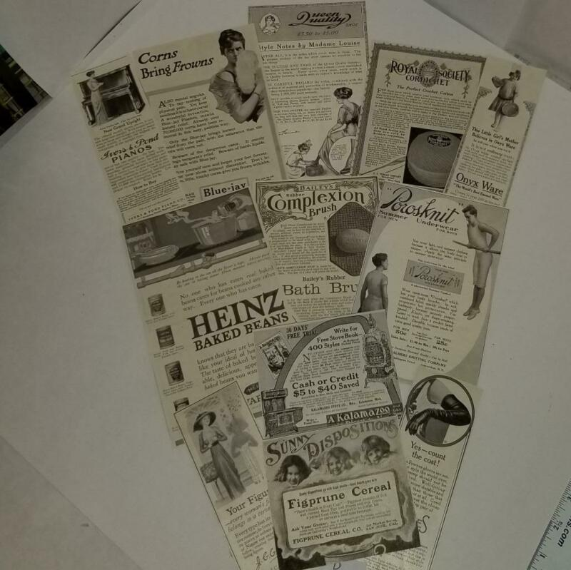 12 Magazine ads 1904-1918 antique advertising lot vintage paper clippings D