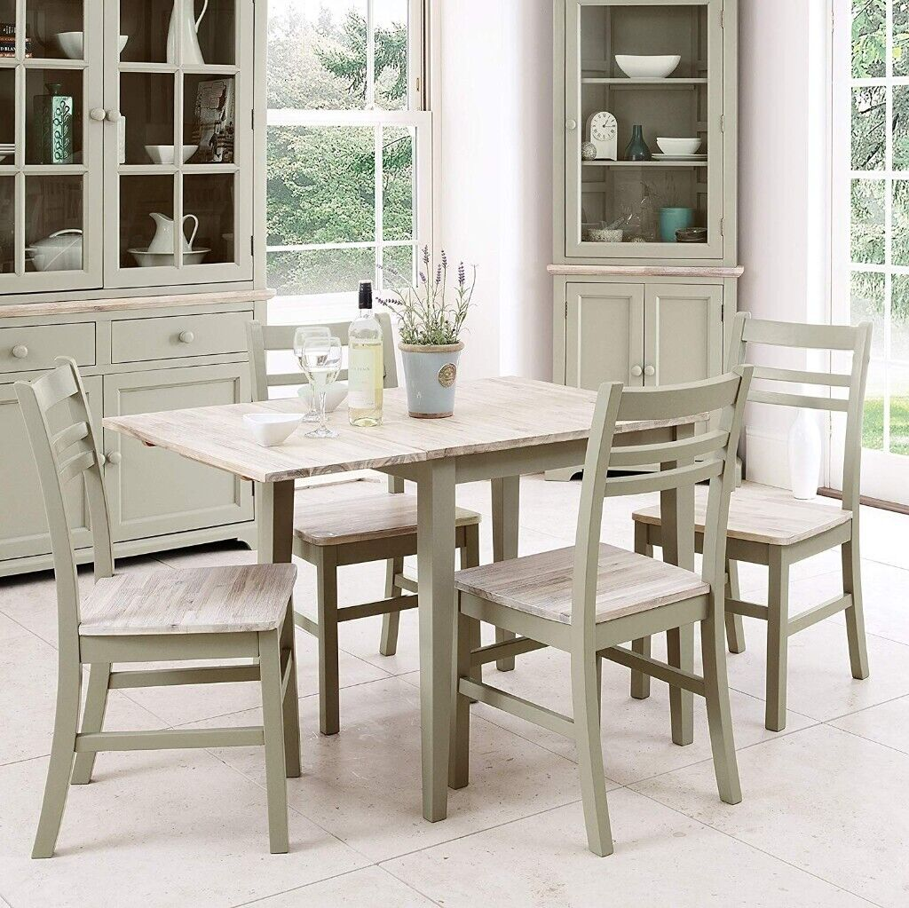 Florence Sage Green Extendable Dining Table and Two Chairs ...