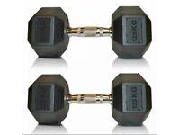 2 x 12.5kg HEX DUMBBELLS (25kg) Commercial Gym Rubber Encased Pro Weights BOXED & NEW Dumbells