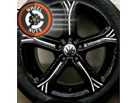 "17"" Genuine Techniks alloys for VW refurb black/silver premium tyres."