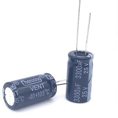 10pcs 3300uf 25v 3300mfd 25volt Electrolytic Capacitor 13mm25mm