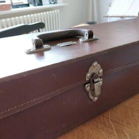 antique case. old brown leather case. retro case. long vintage case. shop decor. vintage decor(1617)