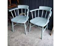 Vintage elm captains chairs, pair of chairs, painted chairs, dining chairs, vintage chairs