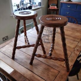 pair of french antique milking stools,vintage milking stools, side tables, vintage stools (1398)