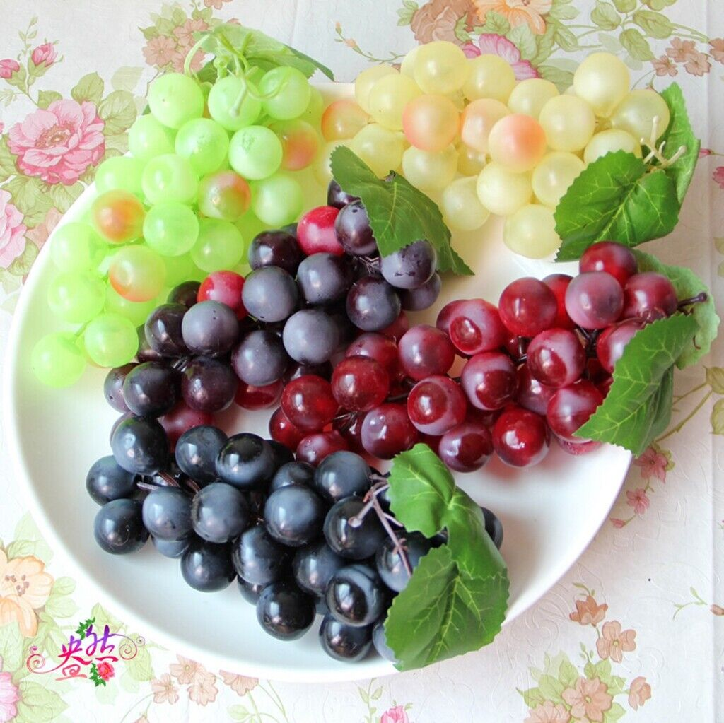 6 Colors Lifelike Artificial Fake Fruit Grape Plastic Decorative Fruits Props