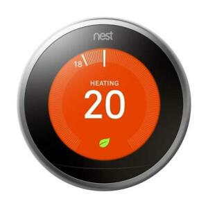 Nest Wi-Fi Smart Learning Thermostat 3rd Generation - Stainless Steel BNIB