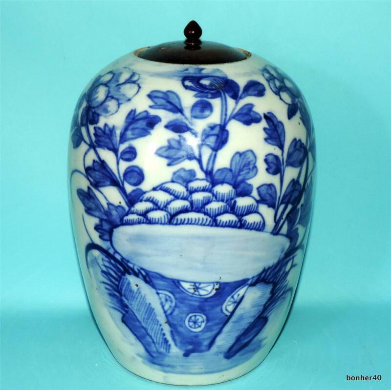 CHINESE PORCELAIN ANTIQUE CELADON BLUE WHITE FANTASIE FIGURES JAR VASE