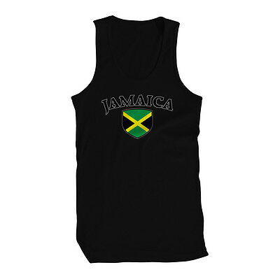 Jamaica Flag Crest Jamaican Irie Mon National Country Pride Mens Tank Top