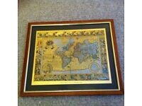 Framed Decorative Map from an Original Engraving by Moses Pitt 1681