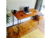Handmade, Vintage Industrial OSB Desk, Hairpin Legs. 3-5 Day UK Delivery, Customisation available