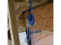 Gin Wheel pulley - 250KG Scaffolders, builders, Fibre Rope Scaffolder in Blue