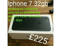 Iphone 7 32 on vodafone 8.7/10 conditions wise 100 % WORKING No cracks no issues