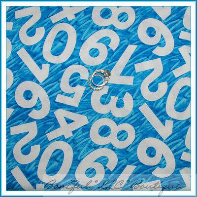 BonEful Fabric FQ Cotton Aqua Blue White US Number Eric Carle Hungry Caterpillar