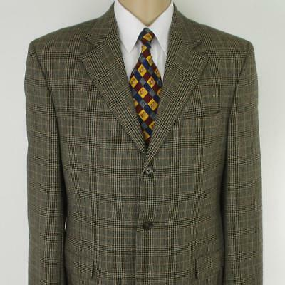 42 L Jack Victor Brown Plaid Tweed Wool 3 Btn Mens Jacket Sport Coat Blazer Mint