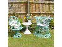Set of vintage arsenic green fibreglass furniture- Russell Woodard