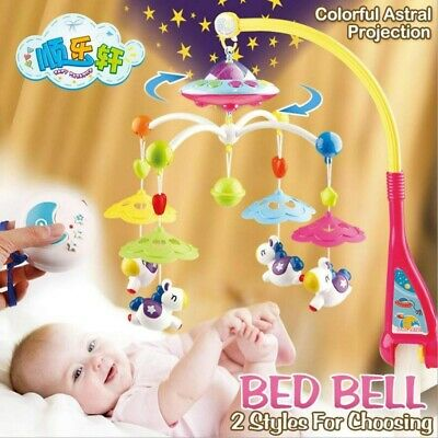 Baby Musical Bed Crib Cot Mobile Stars Projection Nursery Lullaby Lights -