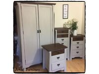 Oak Solid Bedroom Furniture Set Large Wardrobe 3 Chests of Drawers Hand Painted in Grey Chalk Paint