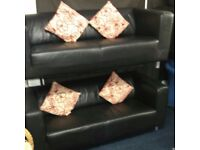 Real leather*2 x 3 seater sofas*BLACK*