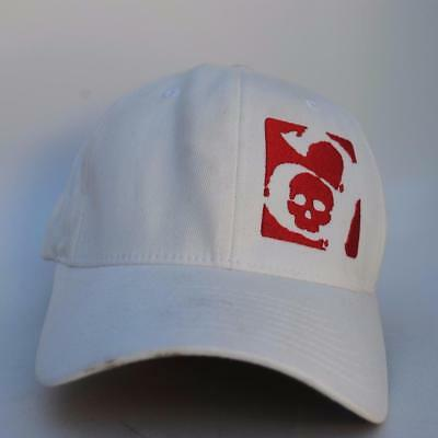 Red Skull Baseball (Red Skull Logo FLEXFIT White Baseball Cap Hat Size SMALL-MEDIUM Stretch Fit)