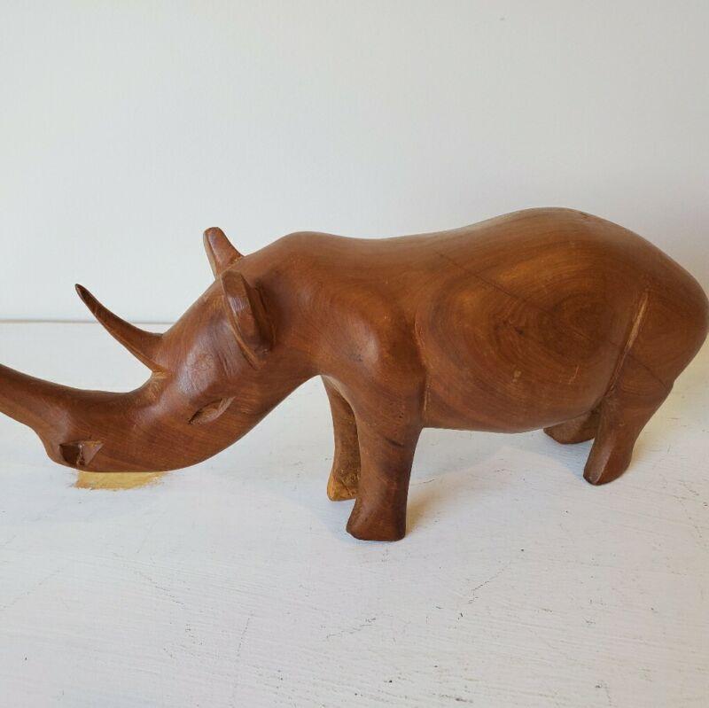 Hand Carved Wood Rhinoceros Made in Kenya