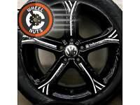 "17"" Genuine Techniks alloys for VW refurb black/silver premium tyres."