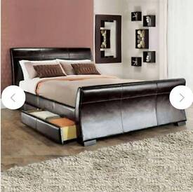 Super king size leather bed