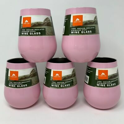 Pink Ozark Trail 14oz Insulated Wine Glass Travel Stemless Great for Crafts! NEW for sale  Shipping to South Africa