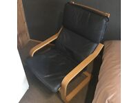 IKEA POANG chair frame and footstool in oak finish with real leather covers in navy blue for sale  Stalybridge, Manchester