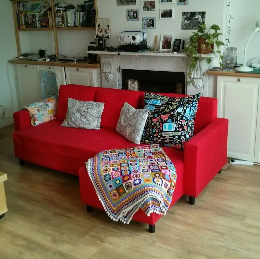 Ikea Lugnvik Red Sofa Bed With Chaise Longue Longer Seat