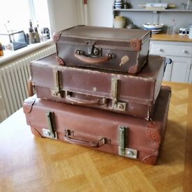 Vintage cases. 3 old cases. Shop display. Brown cases. Retro cases (1660)