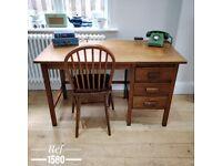 Desk. 1940's desk. Vintage desk. Vintage office. Study desk. Desk with drawers. Wooden desk. (1580)