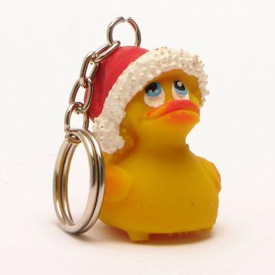 Badeente Weihnachtsmann Schlüsselanhänger Gummienten Quietscheentchen Latexente