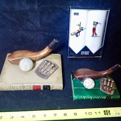 a lot of vintage golf accessories & decor heavy resin paperweights handkerchiefs